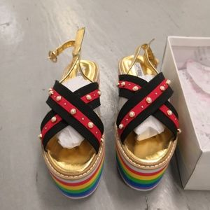 Cape Robbin Multi Color Platform Sandals